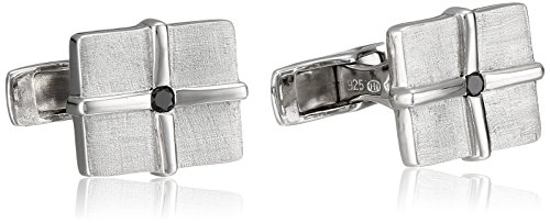 Matte Finish Link - Men's Sterling Silver Black Diamond Matte Finish Cufflinks (1/10 cttw)