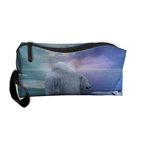 Cosmetic Bags With Zipper Makeup Bag Winter Snow Polar Bear And Penguins Middle Wallet Hangbag Wristlet Holder -