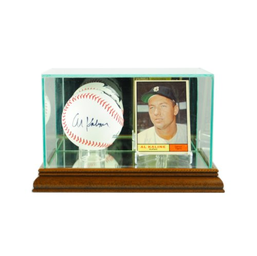 (Perfect Cases MLB Card and Baseball Glass Display Case, Walnut)