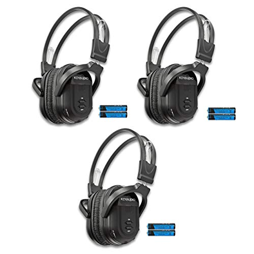 3 Pack of Two Channel Folding Universal Rear Entertainment System Infrared Headphones Wireless IR DVD Player Head Phones for in Car TV Video Audio Listening