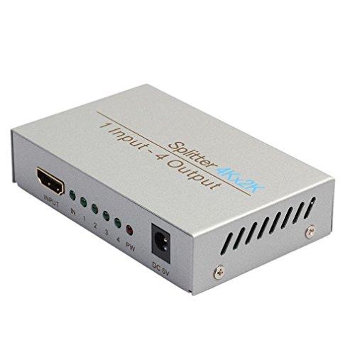 HDMI 4 Connectors Splitter, Gotd Ultra HD 4K 4 Port HDMI Splitter 1x4 Repeater Amplifier 1080P 3D Hub 1 In 4 Out (Silver)