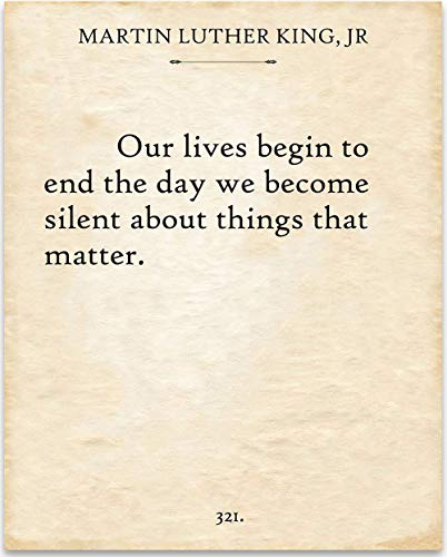 Martin Luther King Jr. - Our Lives Begin - 11x14 Unframed Typography Book Page Print - Great Gift Under $15 for Book Lovers