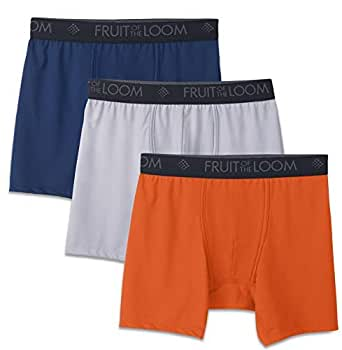 Fruit of the Loom Men's 3-Pack Breathable Lightweight Micromesh Boxer Brief, Assorted, Small