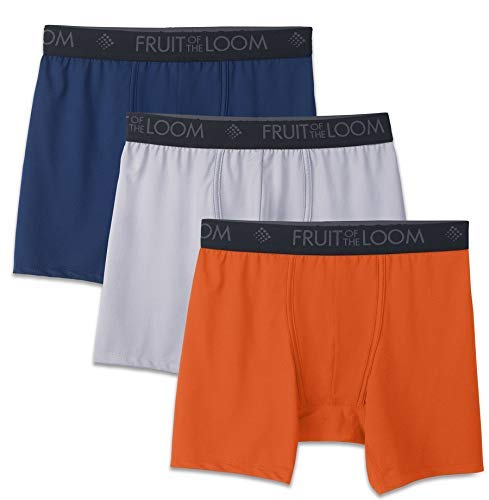 Fruit of the Loom Men's Breathable Underwear, Micro Mesh - Assorted Color - Boxer Brief, Large