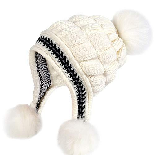 (Clape Women's Earflap Beanie Hat Winter Waterproof Cable Knitted Pom Pom Beanie Warm Fleece Lined Ski Hat Cap)