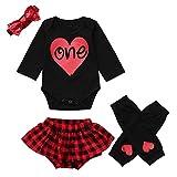 NUWFOR Infant Baby Letter Romper Jumpsuit +Leg Warmers+Headband+Plaid Shorts Outfit Set(Black,3-6Months