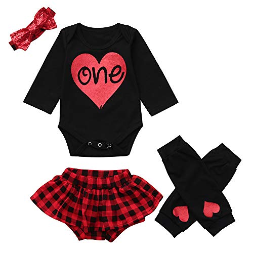 NUWFOR Infant Baby Letter Romper Jumpsuit +Leg Warmers+Headband+Plaid Shorts Outfit Set(Black,18-24Months by NUWFOR (Image #7)