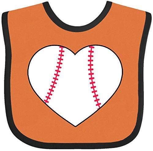 Inktastic - Heart Shaped Baseball Baby Bib Orange and Black 2a73c