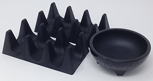 Taco Holders - 3 Pieces Includes 2 Taco Holders & 1 Salsa Molcajete (Black Melamine Salsa Dish)