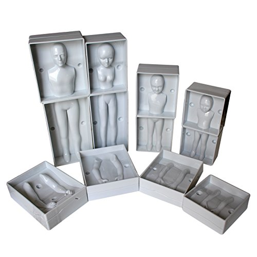24 Pc Family Set of Plastic Human Fondant Moulds by Kurtzy - Full Family Set including 4 Sizes - Man, Women & 2 Children - Full Instructions Included - Perfect for Beginners and (Doll Mold)