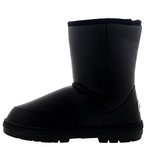 Mujer Original Short Classic Fur Lined Impermeable Invierno Rain Nieve Botas Negro Cuero