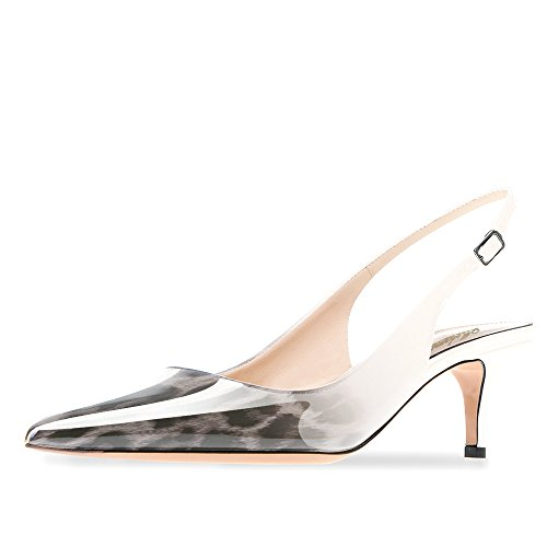 Modemoven Women's Patent Leather Pointed Toe Slingback Ankle Strap Kitten Heels Pumps Evening Stiletto Shoes 6.5CM Leopard Gray