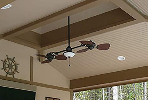 "74/"" Ceiling Fan Indoor Outdoor Bronze Double Light Downrod Mount Reverse AirFlow"