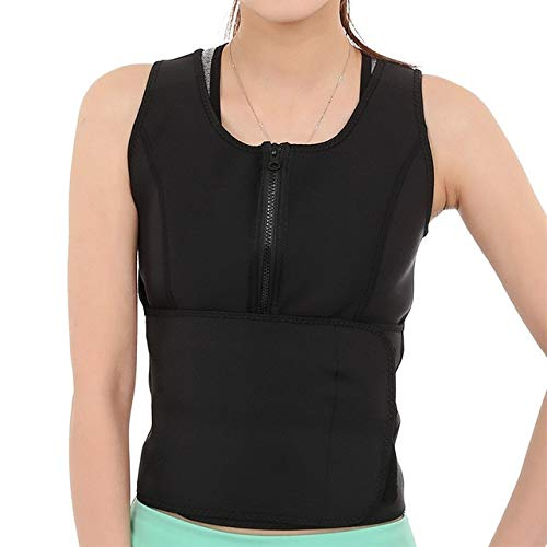 DAVITU Solid Zipper Sweat Elastic Rubber Corset Waist Slimming Wraps Vest Beautiful Body Sculpting Anti Cellulite Clothing - (Color: Black, Size: 2XL)