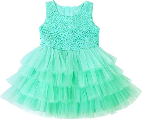 Jup'Elle Baby Girl Dresses Extra Soft Crochet Lace Ruffles Pageant Wedding Party Flower Girl Spa Blue Dresses 18-24months ()