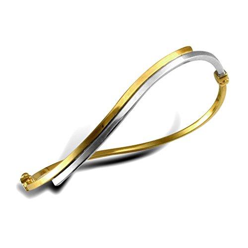9ct or jaune et blanc creux en forme de bracelet