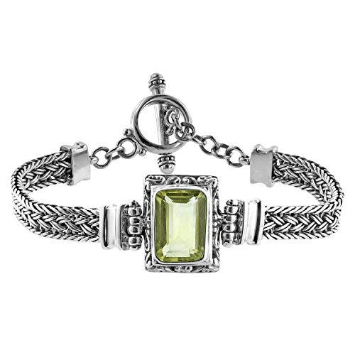 Robert Manse Designs Bali RoManse Emerald Cut Lemon Quartz Woven Bracelet