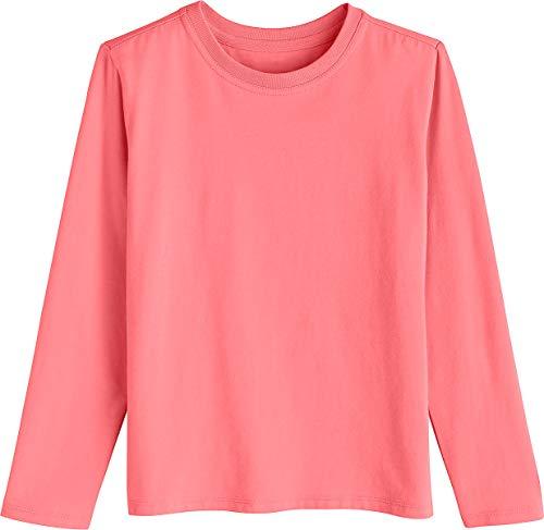 Coolibar UPF 50+ Kids' Long Sleeve Everyday T-Shirt - Sun Protective (Large- Sunset Coral)
