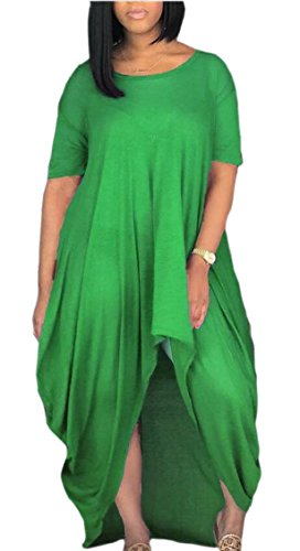 High Green Jaycargogo Loose Dress Low Sleeve Womens Casual Short Maxi Baggy YrqvYOw