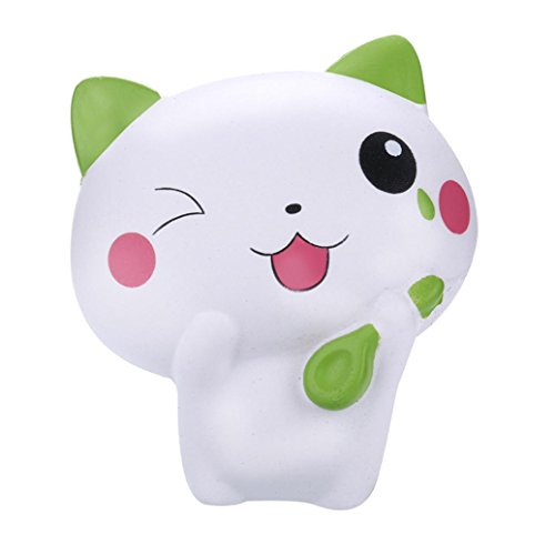 Lavany Squishies Jumbo Cat Toys,Cute Animal Squishy Slow Rising Jumbo Squishies Toy Scented Squeeze Toy for Adult Party (Green) -