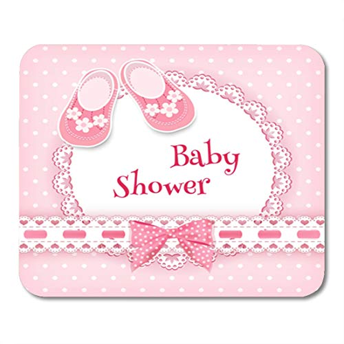 - Semtomn Gaming Mouse Pad Pink Girl Baby Born Birthday Welcome Shoes Celebration Birth 9.5