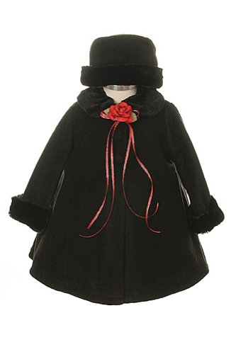 Girl's Cozy Fleece Long Sleeve Cape Jacket Coat - Black Infant XL 18-24 Months