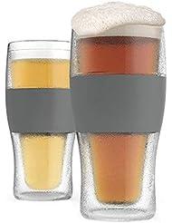 Host Freeze Beer Freezer Gel Chiller Double Wall Plastic Frozen Pint Glass, Set of 2, 16 oz, Grey 2-Pack