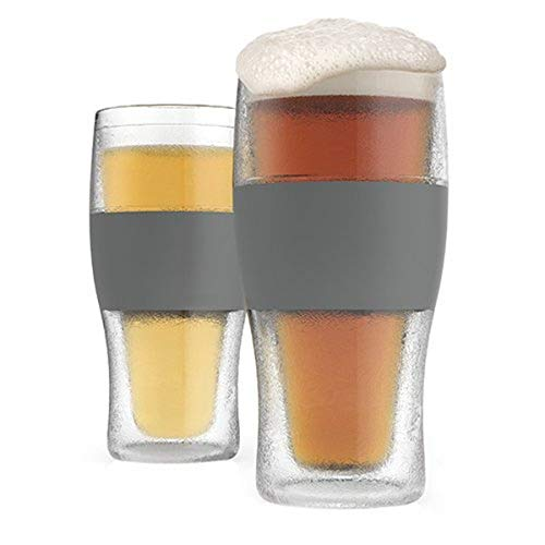Host Freeze Beer Glasses, 16 ounce Freezer Gel Chiller Double Wall Plastic Frozen Pint Glass, Set of 2, Grey
