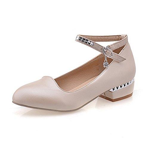 Allhqfashion Femmes Bout Rond Bout Fermé Talons Bas Matière Douce Boucle Pleine Pompes-chaussures Abricot