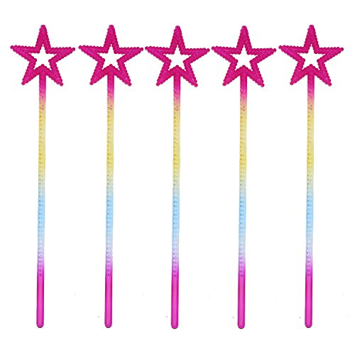 Magic Wand Star (XiangGuanQianYing 5-Pack 13.4 inches Long Princess Wand Rainbow Party Favors Rainbow Star Wands Star Princess Wand)