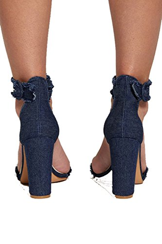 Blue Size Blue Denim Heels Divadames Up 8 Lace Ladies Dark 3 Girls Shoes Back Boots Womens Frayed UK Frill UFFqxOP