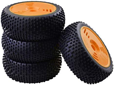 プラスチック RCカータイヤ ホイールリム ホイールハブ ゴムタイヤ 優れた耐久性 4個入り 全2カラー - オレンジ