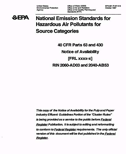 National Emission Standards for Hazardous Air Pollutants for Source Categories / 40 CFR Parts 63 and 430 Notice of Availability [FRL xxxx-x] RIN 2060-AD03 and 2040-AB53.