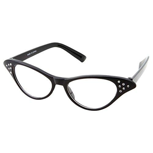 50s Womens Costume Cat Eye Glasses Adult Size with Rhinestone (Black)]()