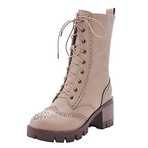 AIYOUMEI Damen Chunky Heel Martin Stiefel mit Schnürung Modern Blockabsatz Stiefeletten Schuhe Beige