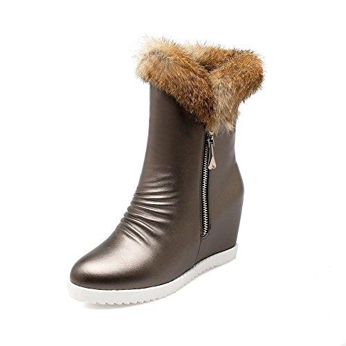 Zipper Women's Boots PU High top Solid Silver AmoonyFashion Heels Low d5wqd