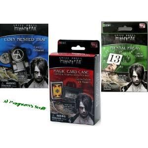 Set of 3 Criss Angel MindFreak Magic Kits - Coin Nested Trap - Magic Card Case - Mental Freak