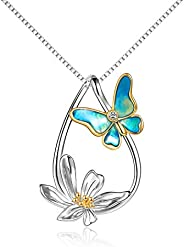 Butterfly Necklace Sterling Silver Gold Plated Teardrop Daisy Butterfly Pendant Necklace Jewelry Gifts