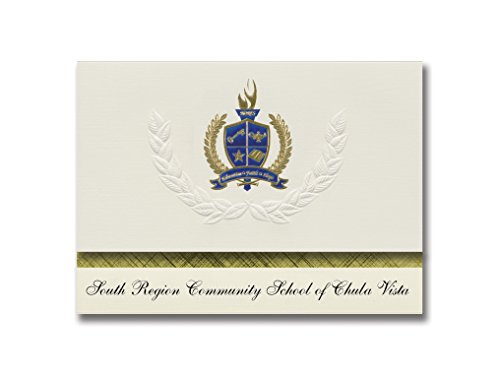 Signature Announcements South Region Community School of Chula Vista (National City, CA) Graduation Announcements, Presidential Elite Pack 25 w/Gold & Blue Foil -