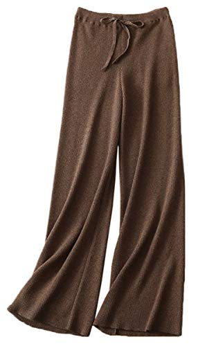 - DAIMIDY Women's Cashmere Pants, Wide Leg Palazzo Casual Lounge Knitted High Waist Pants, Dark Camel, US XL (16-18)