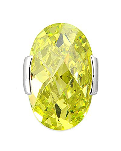 Peridot Slide Oval - Solitaire Oval Pendant Simulated Peridot .925 Sterling Silver Charm Jewelry Making Supply Pendant Bracelet DIY Crafting by Wholesale Charms