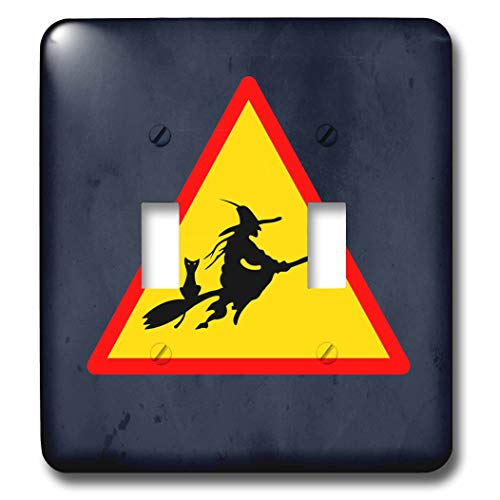 3dRose Sandy Mertens Halloween Designs - Witch Crossing with Black Cat and Broom Warning Sign, 3drsmm - Light Switch Covers - double toggle switch (lsp_290246_2) ()