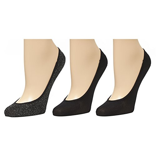 Marilyn Monroe Womens Ladies 3Pack Lurex And Microfiber Footliner Socks Size 9-11 Silver/Black (Marilyn Monroe Stockings)