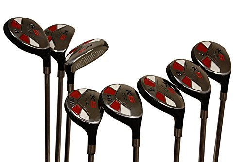 Majek Senior Men's Golf All Hybrid Complete Full Set, which Includes: #3, 4, 5, 6, 7, 8, 9, PW Senior Flex with Tacki-Mac Jumbo Soft Wrap Grips Right Handed Clubs by Majek