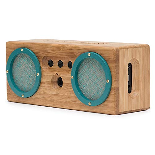 Bongo Wood Bluetooth Speakers, Retro Handcrafted Bamboo Portable Wireless Speaker for Travel, Home, Shower, Beach, Kitchen, Outdoors, Loud Bass with Dual Passive Woofers | Vintage Green by Otis & Eleanor