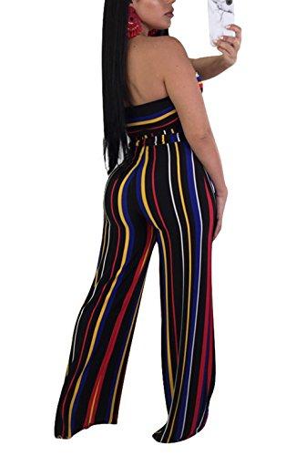 Molisry Women Summer Sleeveless Tops Stripped Long Pants 2 Piece Outfits,Black-q062,Large 3