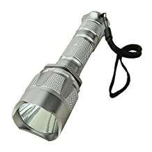 5W CREE LED 180LM 18650 Li-ion Battery Rechargeable Super Bright Flashlight-Silvery