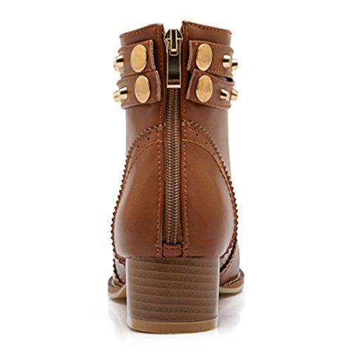 YE Damen Chunky Heels Ankle Boots Geschlossene Stiefeletten mit Nieten und Reißverschluss Blockabsatz 4cm Modern Schuhe Braun
