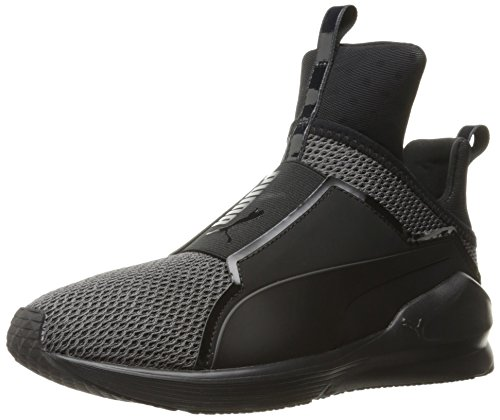 PUMA Women's Fierce Knit Cross-Trainer Shoe, Black, 6 M US