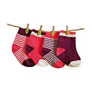 GRyiyi Baby Socks Unisex infant Turn Cuff Socks for 0-6 months Baby, 4 Pair ( thin style:purple+red)